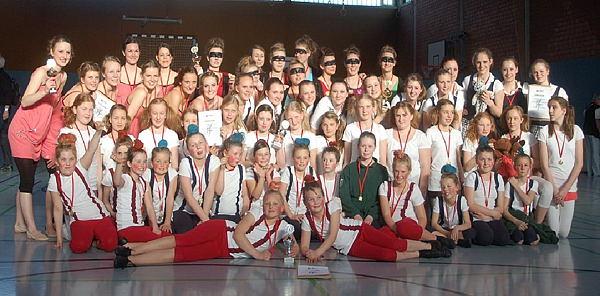 Die siegreichen TuS-Gruppen beim Lippe Dance Cup