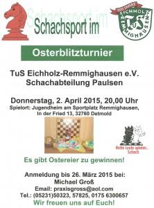Einladung der Schachabteilung zum Osterblitzturnier 2015