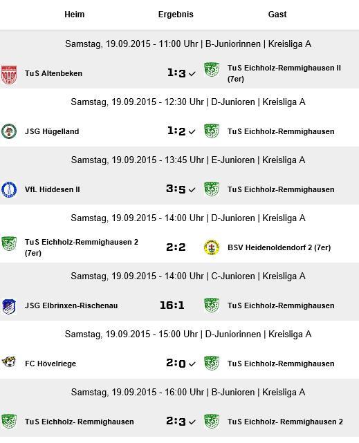 Ergebnisübersicht  -  Quelle: Fussball.de