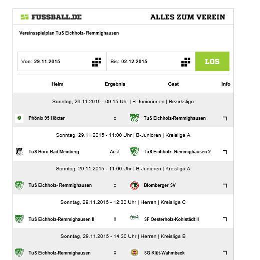 Nach Spielausfall der B2-Jugend - Übersicht aus Fußball.de