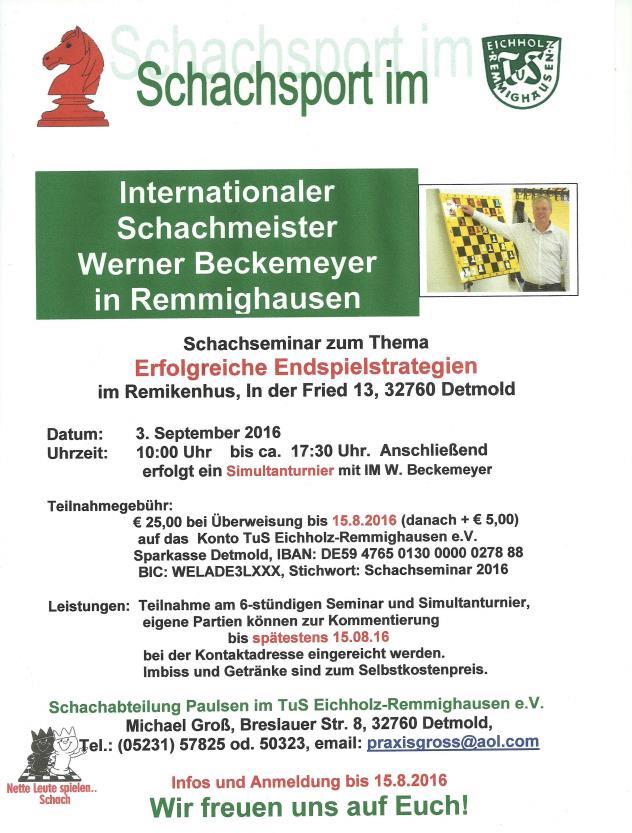 Schachseminar mit W. Beckemeyer (IM)