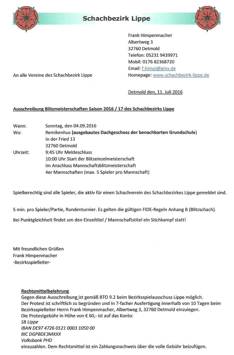 Blitzmeisterschaften im Schach - Bezirk Lippe