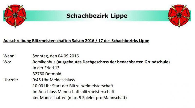 Ausschreibung Lippische Blitzmeisterschaften 2016/2017