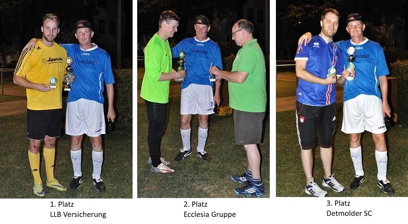 Pokalübergabe durch Dirk und Carsten an die drei erstplatzierten Mannschaften
