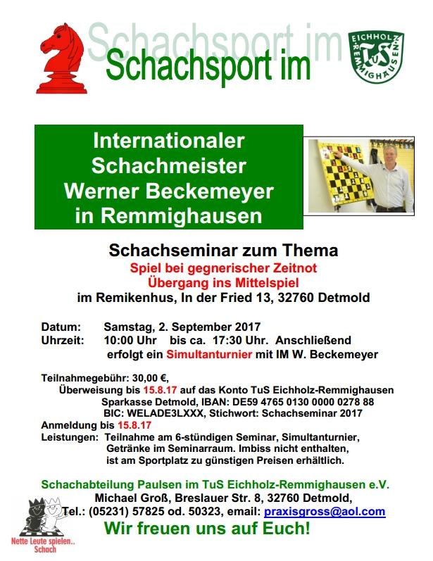 """Schachseminar mit W. Beckemeyer IM @ Remikenhus """"In der Fried 13"""" am Sportplatz"""
